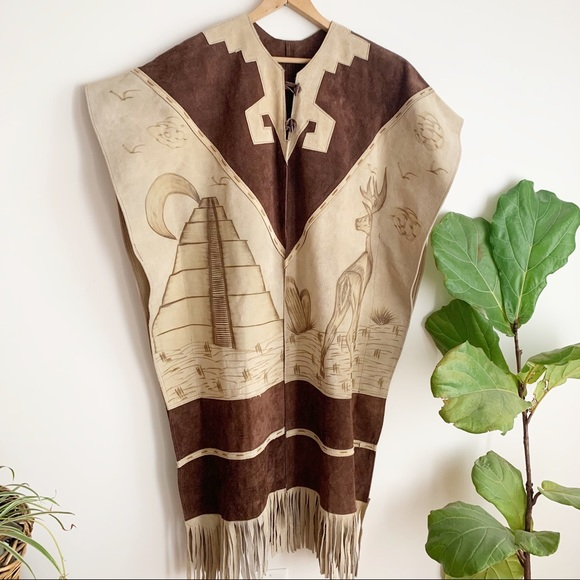 Vintage Sweaters - Vtg Poncho Mexican Leather Aztec Fringe Western
